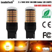 No Hyper Flashing 7440 Turn Signal Light Canbus Error Free LED Bulb Amber Yellow
