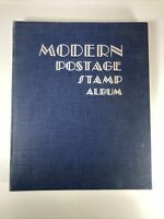 1950 Modern Postage Stamp Album, Blue Cover, Some Stamps Of US And World