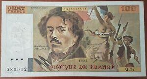 Billet 100 francs Eugène DELACROIX 1984 FRANCE  Q.77