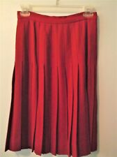 Womens Red Pleated 100% Wool Skirt  Size 4