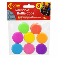8pc REUSABLE COLOURED SILICONE BOTTLE CAPS TOP LID SAVER KEEP FRESH WINE BEER
