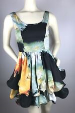 46a52c4806 Angel Biba Multicolor Turquoise Orange Ruffled Mini Sleeveless Dress Sz 8