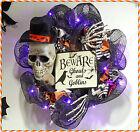 Lighted Halloween Skeleton BEWARE Wreath Black Orange Door Wall Home Art Decor
