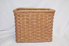 Vintage Rectangular Triple Twist Wicker Basket With Handles (#S7642)