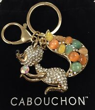 Cabouchon Hand bag CHARM Squirrel Diamante Jewel gem stone keyring rose gold