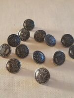 Vtg Waterbury Button Co Silver Tone Military Buttons Lot Of 13