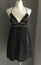 MISS SHOP Silk Dress  Black & White MISS Crossover Spaghetti Straps Size 10 NWT