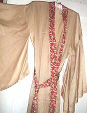 Tiempos pasados impresionante Seda Kimono Bata talla 10 12 Reino Unido dorado pálido vintage de longitud completa