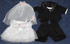 "Set of Teddy Bear GROOM (Tuxedo) & BRIDE CLOTHES Fit 14-18"" Build-a-bear !NEW!"