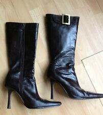 Lovely Aldo Dark Brown Leather Long Boots, size UK3 - RRP £119.99