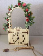 Spartus Retro Vintage Electric Wall Mantle Clock Garden Gate Arch Roses Works!