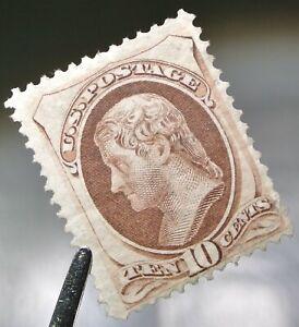 USA 1870-71 10c Jefferson #150 F-VF MNG Mint No Gum Cat. $850