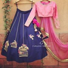 Wedding Designer Wear Blue Bird Lehenga Choli Bollywood Pakistani Indian Lengha
