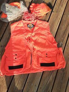 Cabela's Men's Hunting Vest XL Bomber Hat XXL Gloves Lg Game Line Blaze Orange
