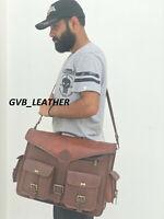 Men's Model Vintage Leather Messenger Shoulder Laptop Briefcase Business Bag