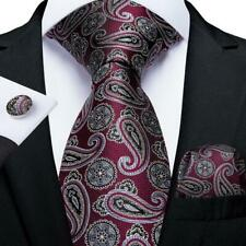 USA Burgundy Silver Paisley Silk Tie Set Mens Necktie Pocket Square Cufflinks