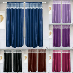 1/2Panel Luxury Blackout Window Curtain Rod Pocket With Lace Trim Home Decor NEW