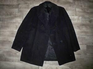 Vintage 1970s US Navy Black Kersey Peacoat Military Wool Jacket Vietnam Size 42