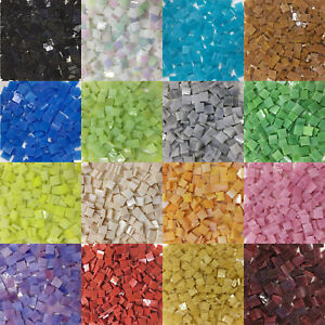 Colorful Square Stained Glass Supplies DIY Glass Mosaic Tiles for Crafts Art
