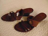 Women's Italian Shoemakers Vero Cuoio Brown Open Toe Heels Size 11 Made In ITALY