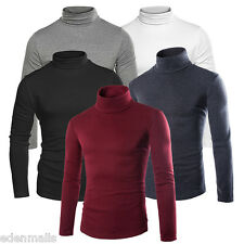 Mens Black Wool Turtleneck Sweater Solid Knit Cashmere Pullover Sweaters
