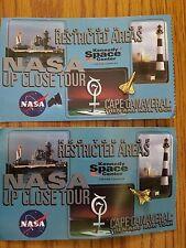 Lot of 2 NASA Tour Ticket Kennedy Ctr FL Space Shuttle Goldtone Metal Lapel Pins