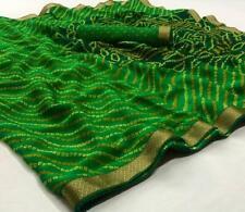 Indian Ethnic Bandhani Saree Sari Chiffon Wedding Wear Printed Saree Blouse SS