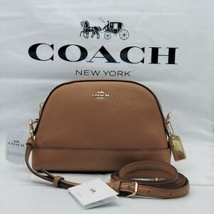 ⭐NWT COACH Dome Crossbody Shoulder Bag Classic Leather Light Saddle Gold  F76673