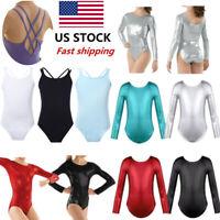 US Kids Girls Gymnastics Sports Leotard Jumpsuit Dance Ballet Leotards Dancewear