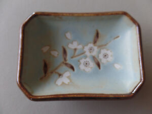 """Vintage Ceramic Sage Taupe Ivory Floral Heavy Small Soap Dish 3.25"""" x 2.5"""" x 1"""""""