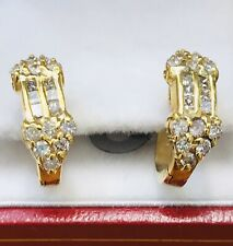 hoop earring 0.90 ct Pre owned 14k Solid Yellow Gold Natural Diamond huggie