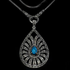 "Not Enhanced Turquoise 24 - 29.99"" Fine Necklaces & Pendants"