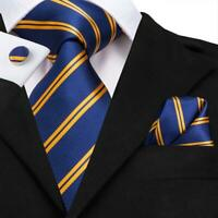 USA Classic 99 Blue Gold Striped Men's Tie Woven Silk Necktie Set Hanky Wedding