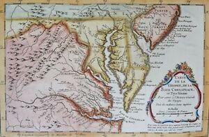 Washington DC, Virginia, Delaware, Maryland, Pennsylvania, map by Bellin, 1757