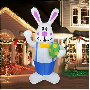 6' FT EASTER BUNNY W/ DECORATIVE EGG  LIGHTED AIRBLOWN INFLATABLE YARD DECOR UK