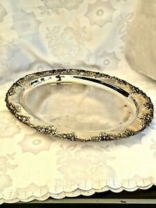 EXQUISITE VINTAGE SILVER PLATED ETCHED OVAL SERVING TRAY STOKES AUSTRALIA C 1960