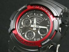 CASIO G-Shock AW591-4 AW-591-4 Black Red Analog Digital Free Ship !