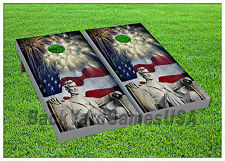 VINYL Abe Lincoln Independance Day Celebration WRAPS CORNHOLE BEANBAG Boards 964
