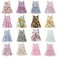 Cute Flower Girl Princess Dress Summer Sleeveless Backless O-Neck Sweet Clothes
