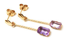 9ct Gold Amethyst drop earrings Made in UK Gift Boxed