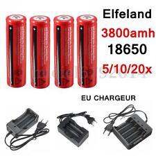 3.7V 18650 3800mAh Rechargeable Battery Batterie Pile Flashlight + EU Chargeur