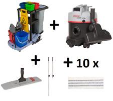 Starter Set 50 cm Servicewagen Reinigungswagen + Staubsauger + Wischset + Mopps