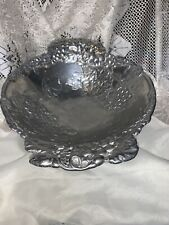 Arthur Court Grapes and Leaves Footed Aluminum Centerpiece Bowl Vtg 1998