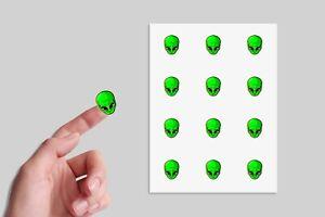 24 x Green Alien Head Stickers Party Bag Sticker Decals Stickers