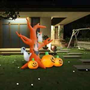 vidaXL Halloween Geisterbaum Kürbisse 6 LEDs 2,6m Aufblasbare Figur Spukbaum
