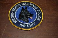 "Obsolete Metro-North Railraod Police K-9 Unit Round Patch 4"" Diameter Dog"
