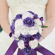Purple Rose Bridal Bouquet Flower Teardrop Crystal Garland Wedding Party Decor