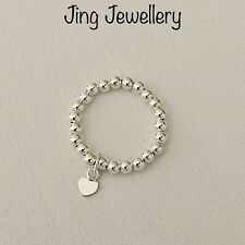 STERLING SILVER STRETCH BEADED RING WITH TINY HEART CHARM ALL SIZES 925
