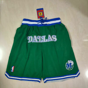 Men's Dallas Mavericks Vintage Stitched Basketball Shorts Green Size: S-XXL