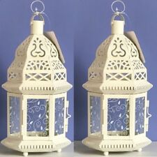 Lot of 2 Moroccan Style Lantern White Candleholder Wedding Centerpieces